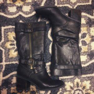 Franco sarto dark olive green leather boots 7